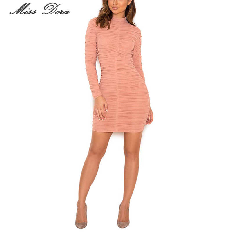 e09c59655f1 2018 Autumn Dusty Pink Ruched Mesh Bodycon Runway Dress Celebrity Long  sleeve sexy bodycon evening party