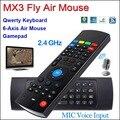 2.4G MX3 IR Mini Teclado Sem Fio com Microfone Voz 3 em 1 Fly Air Mouse TECLADO QWERTY de Sensoriamento Remoto Aprendizagem para TV Android caixa