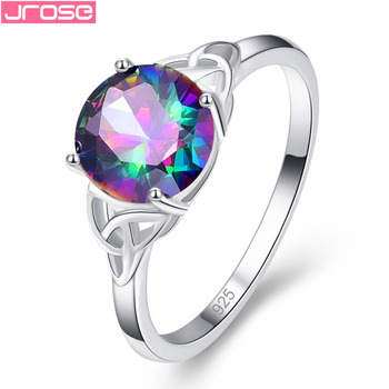 Rainbow Cubic Zirconia Silver Ring