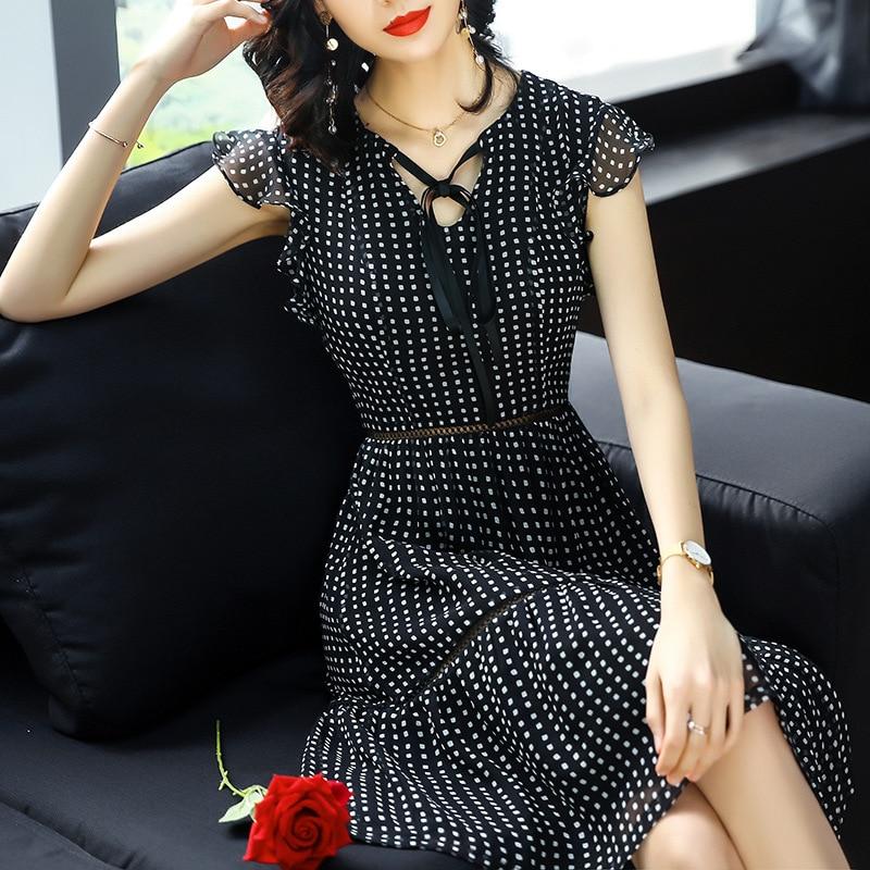 Europa Mode Zomer Zijde Vrouwen Nieuwe Vestidos Oekraïne 2018 OL V Kraag Stip Hollow Chiffon Plus Size-in Jurken van Dames Kleding op AliExpress - 11.11_Dubbel 11Vrijgezellendag 3
