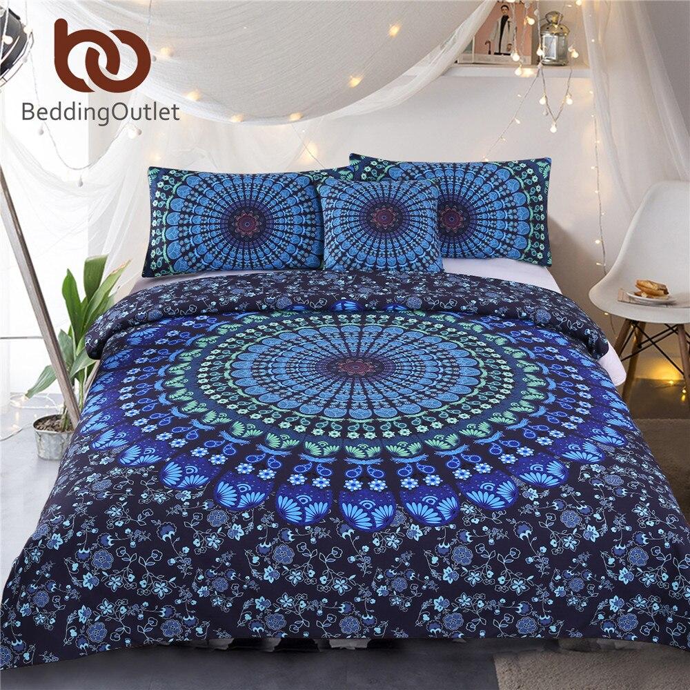 Literieoutlet Mandala Literie Bohème Bleu Housse de Couette Luxe Plaine Sergé Textiles de Maison Double Reine Roi 4 pcs chaude
