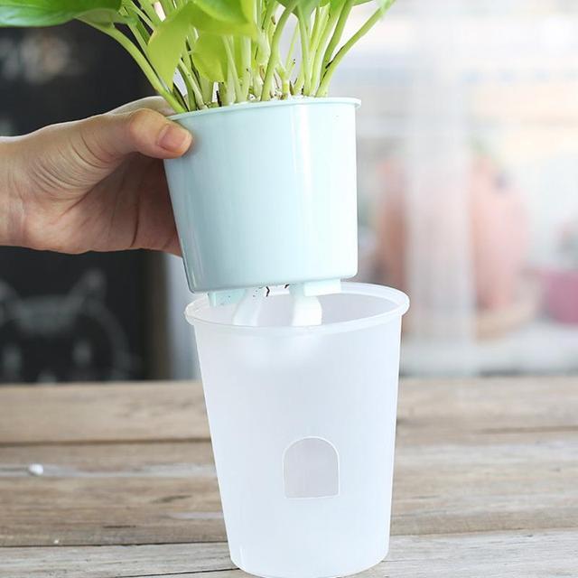 Self-Watering Mini Plastic Flower Pots Vase Flower Bonsai Planter Nursery Pots flower pots  garden pots