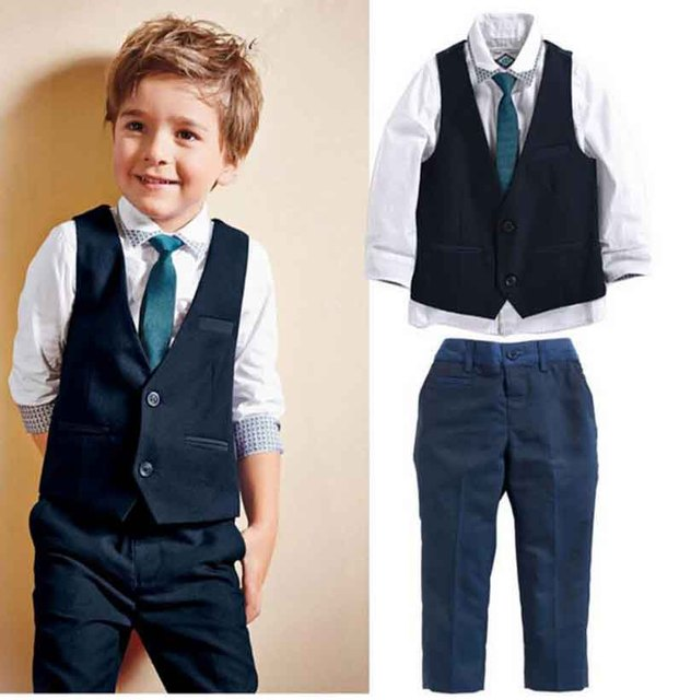 2017 summer and autumn style baby boys clothes children t -shirt+ vest+pants+ tie cotton school clothing kids clothes sets