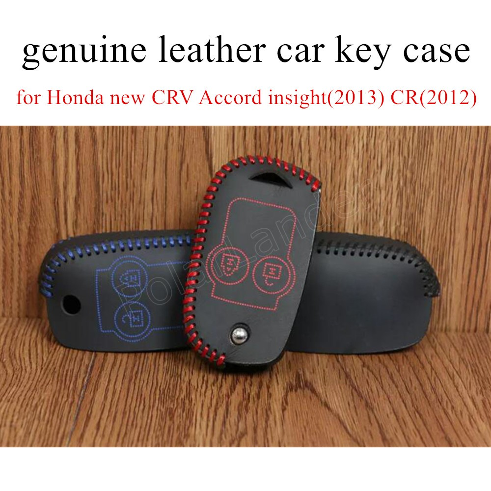 Only Red Car key case hand sewing real leather key packet car key cover for Honda 2 butt ...