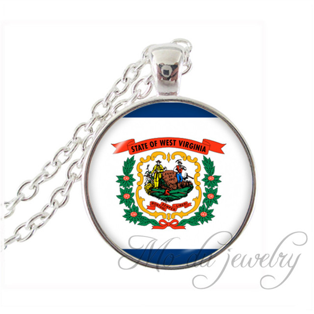 West Virginia State Flag Necklace The State Of West Virginia Pendant