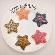 5pcs/lot 4.8cm Glitter Star Padded Applique for DIY Children headwear Accessories & Craft Decoration