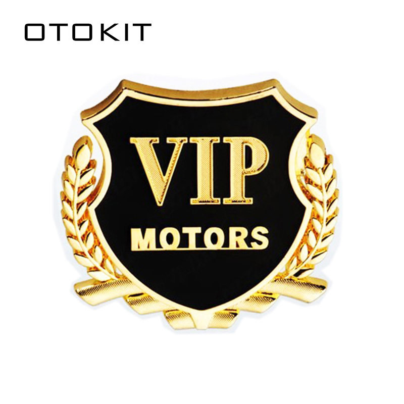 2pcs/Lot 3D VIP MOTORS Logo Metal Car Chrome Emblem Badge Decal Door Window Body Auto Decor DIY Sticker Car Decoration Styling mayitr metal 3d black limited edition sticker universal car auto body emblem badge sticker decal chrome emblem car styling