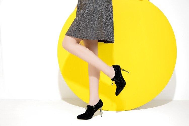 8 Frauen Heels Ef1284 Schuhe Damen High Thin Stiefeletten größe Frau Black 4 Mode Ursprüngliche Schwarze Stiefel Absicht Sexy Spitz Super 5 Us qnAwgtRUz