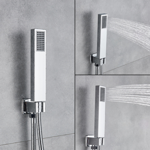 Image 3 - Uythner Wall Mount Bathroom Rain Waterfall Shower Faucets Set Concealed Chrome Shower System Bathtub Shower Mixer Faucet Tap