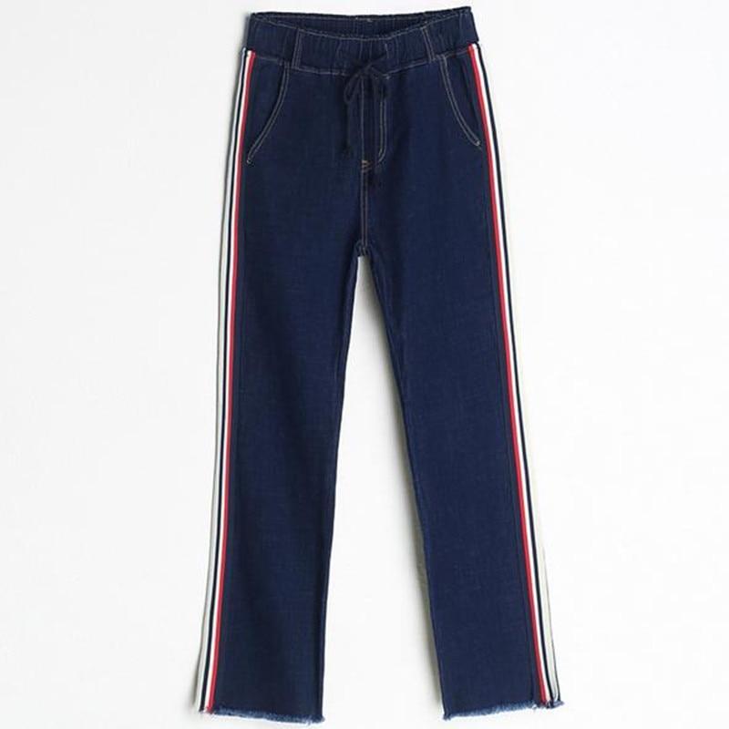 2017 autumn new women jeans large size stretch points pants female Fashion stitching Elastic waist Wide leg pants gemqz d1813 quartz points large cluster plate mangano spots