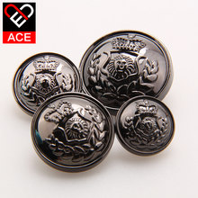 15mm, 16pcs/ lot Top Grade button quality pure metal plating polishing buttons female fashion wool trench coat decoration button(China)