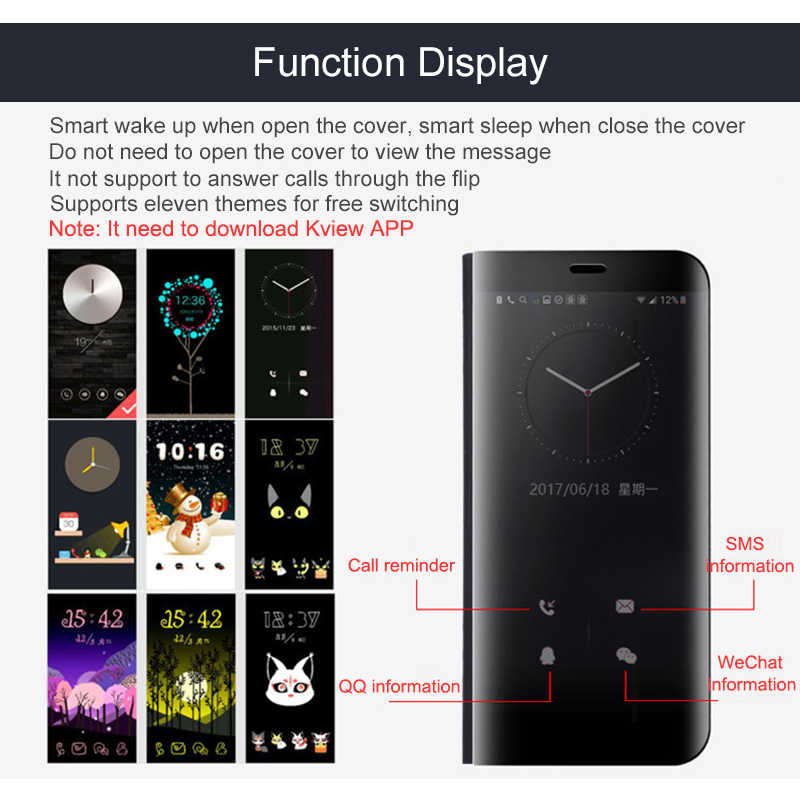 3c452cff594 ... Luxury Flip Clear Stand Smart Mirror Case For Samsung Galaxy S9 S8 Plus  Note 8 9