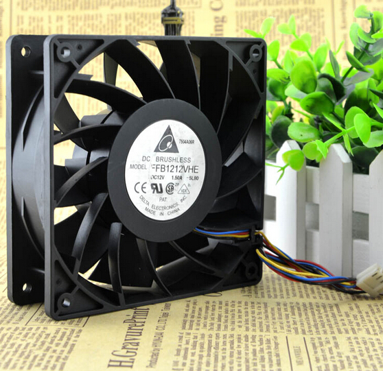 Delta FFB1212VHE 1.5A 120*120*38 12V 12CM 4 pin PWM velocimetry violent fan control temperature computer water cooling fan delta pfc1212de 12038 12v 3a 12cm strong breeze big air volume violent fan