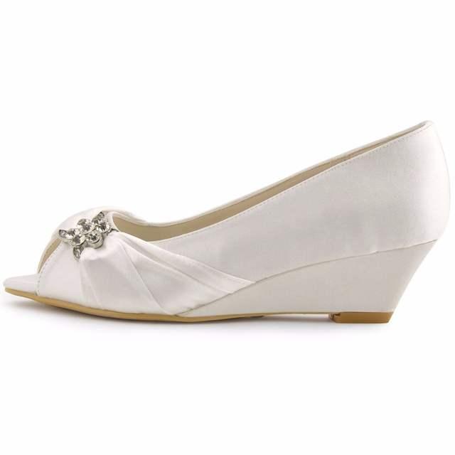 placeholder Woman Wedding Wedges WP1403 White Ivory Silver Peep Toe  Rhinestone Med Heels Satin Ladies Bride Bridal b5923e8897e0