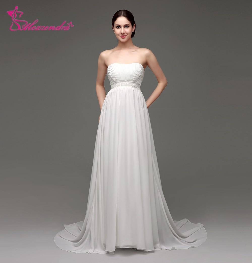 Alexzendra Stock Dresses Strapless Chiffon Beach Wedding Dress Bridal Gowns Ready To Ship