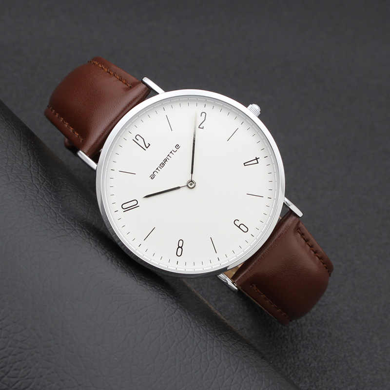 Fashion Men Minimalist Watch Women Arabic Japan Quartz Thin Leather Silver Mesh Stainless Steel Magnet Strap Antibrittle Classic