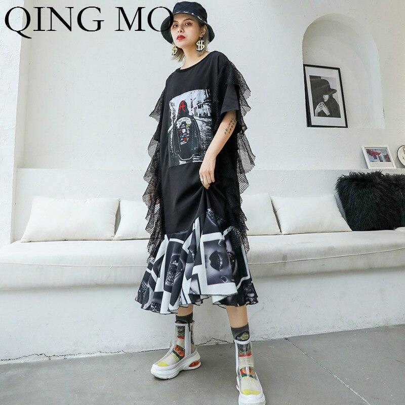 QING MO Women Mesh Patchwork Dress Women Black Character Print Dress Women Party Evening Dress 2019