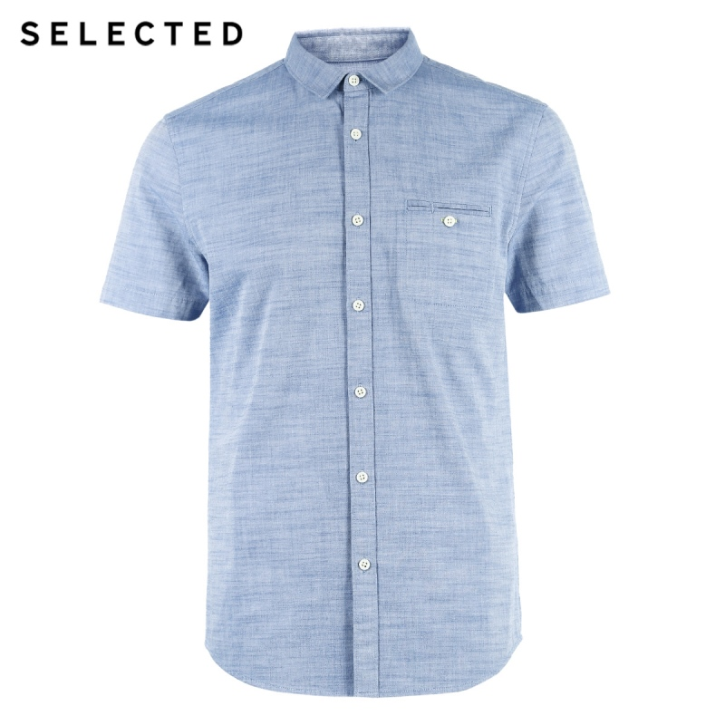 Image 5 - SELECTED Mens 100% Cotton Pure Color Pointed Collar Short sleeved Shirt C418204531Casual Shirts