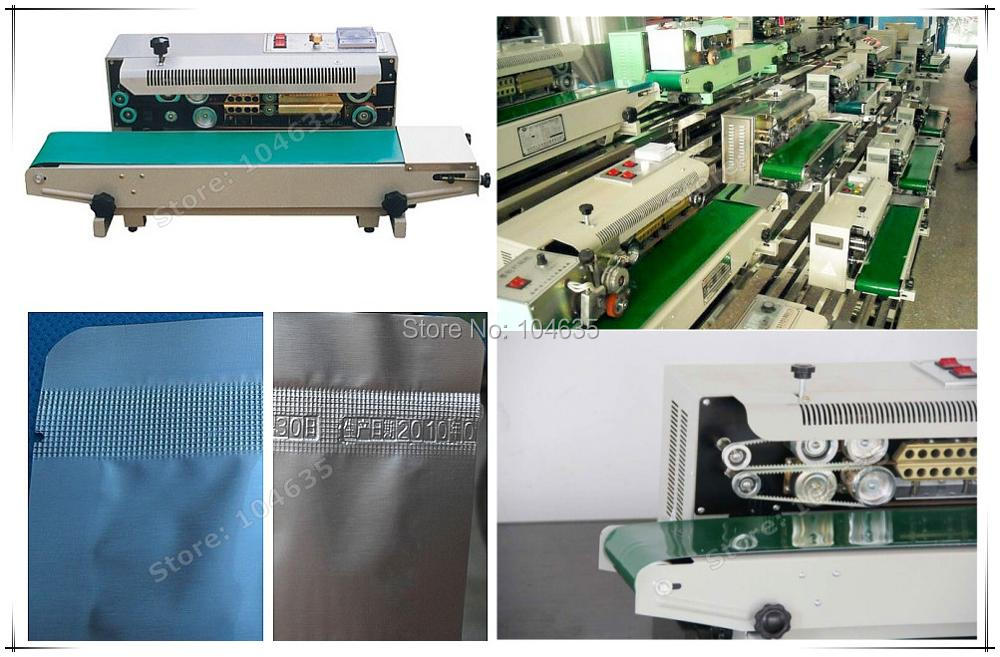 Lowest Price ! 220V Automatic Continuous sealer plastic bag heat sealing machine FR900 ,Sealing speed and temperature adjustable lx pack lowest factory price vertical liquid bag sealing machine continuous heat sealer plastic aluminium foil pvc bag film