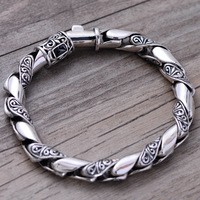wholesale 925 sterling silver jewelry retro Thai silver bracelet seiko 058541 men domineering decorative pattern