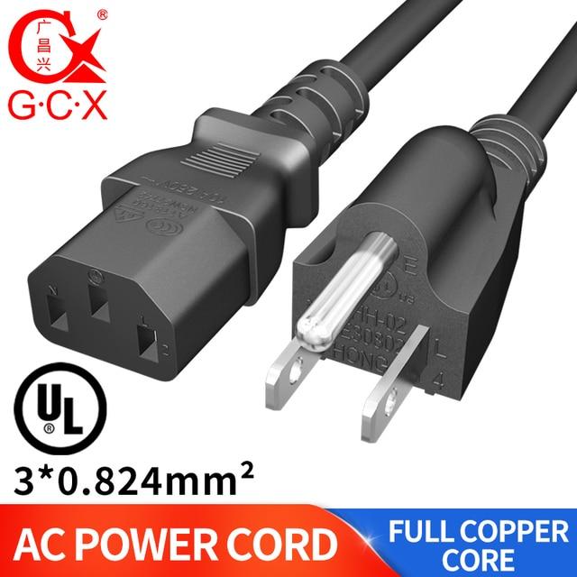 GCX UL موافقة التيار المتناوب سلك الطاقة NEMA 10A 125 فولت 3 الشق C13 تمديد OFC كابل الطاقة 3 دبوس ل جهاز كمبيوتر شخصي مراقب طباخ 1.8 متر 3m
