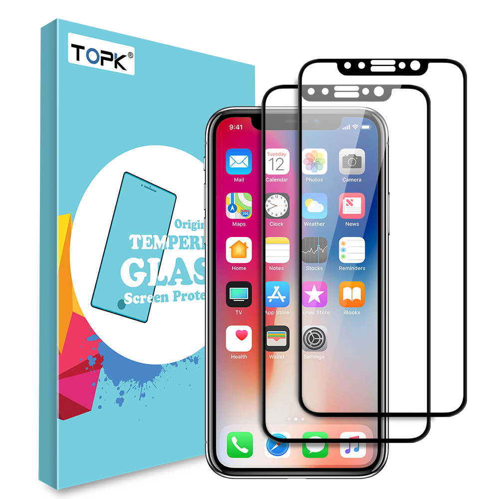 For iPhone X Screen Protector ,TOPK Tempered Glass HD