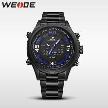 WEIDE genuine luxury sport watch stainless steelin digital quartz LCD watches water resistant analog army automatic clock men