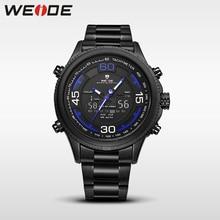 купить WEIDE genuine luxury sport watch stainless steelin digital quartz LCD watches water resistant analog army automatic clock men по цене 1382.08 рублей