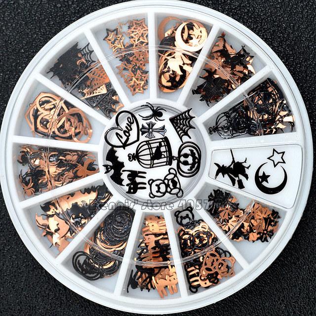 Brone Black Mix Halloween Shape Pumpkin Face Witch Spider Net Black Cat Bat Metallic Nail Art Sequins Decals  Gem DIY Wheel