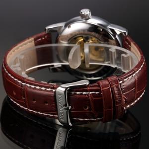 Image 4 - 男性腕時計高級ゴールデンスケルトン機械式スチームパンク男性時計自動腕時計革ストラップヘレン Horloges