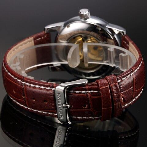 Men Wrist Watches Luxury Golden Skeleton Mechanical Steampunk Male Clock Automatic Wristwatch Leather Strap Herren Horloges Islamabad