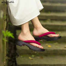 WHOHOLL Anime Cosplay Wooden Geta Summer Women Flat Sandals Traditional Japanese colgs Shoes Geisha Flip-flops Coser