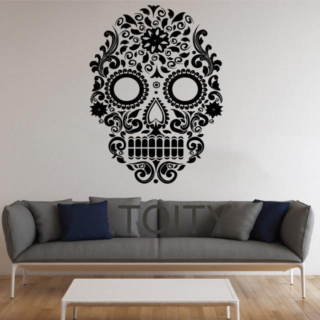 Sucre Crâne Stickers Muraux Mexicain Art Vinyle Home Decor Design Intérieur  Adolescent Salon Chambre Peintures Murales bb47a217a5a