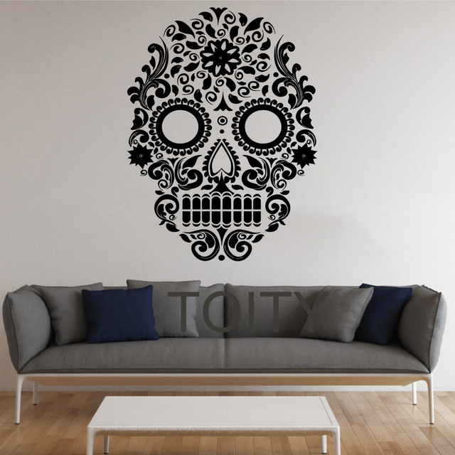 Sugar Skull Wall Stickers Mexican Art Vinyl Decals Home Interior Decor Design Living Room Bedroom
