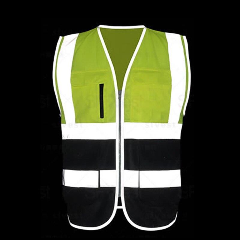 Reflektierende sicherheitsweste leeveless pullover für den bau transport lager arbeiter unternehmen logo siebdruck
