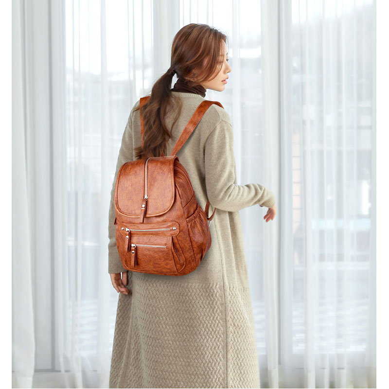 5 Colors Ladies Sheepskin Leather Backpack Fashion Women Travel Backpacks Luxury Sac A Dos School Backpacks for Girls Mochilas