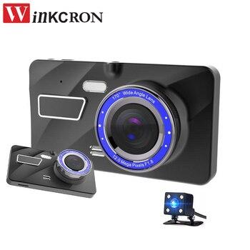 "4"" IPS Dash Cam New Car DVR Camera Full HD 1080P Dual Lens Front+Rear Blue Mirror Night Vision Video Recorder Parking Monitor"