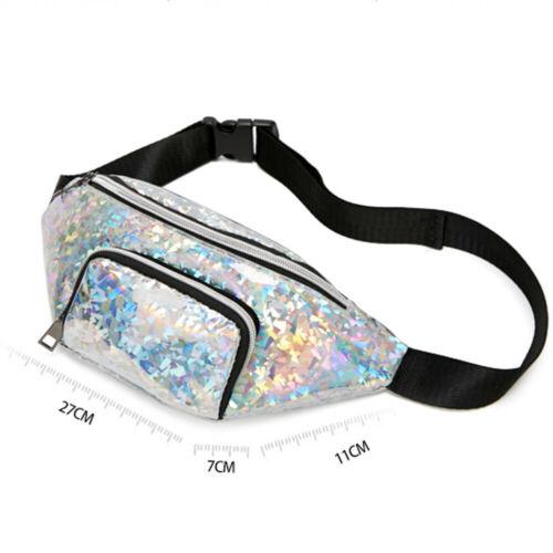 Women Girls Fashion Sequined Waist Pack Ladies Pouch Hip Bum Bag Travel Sport Waist Packs