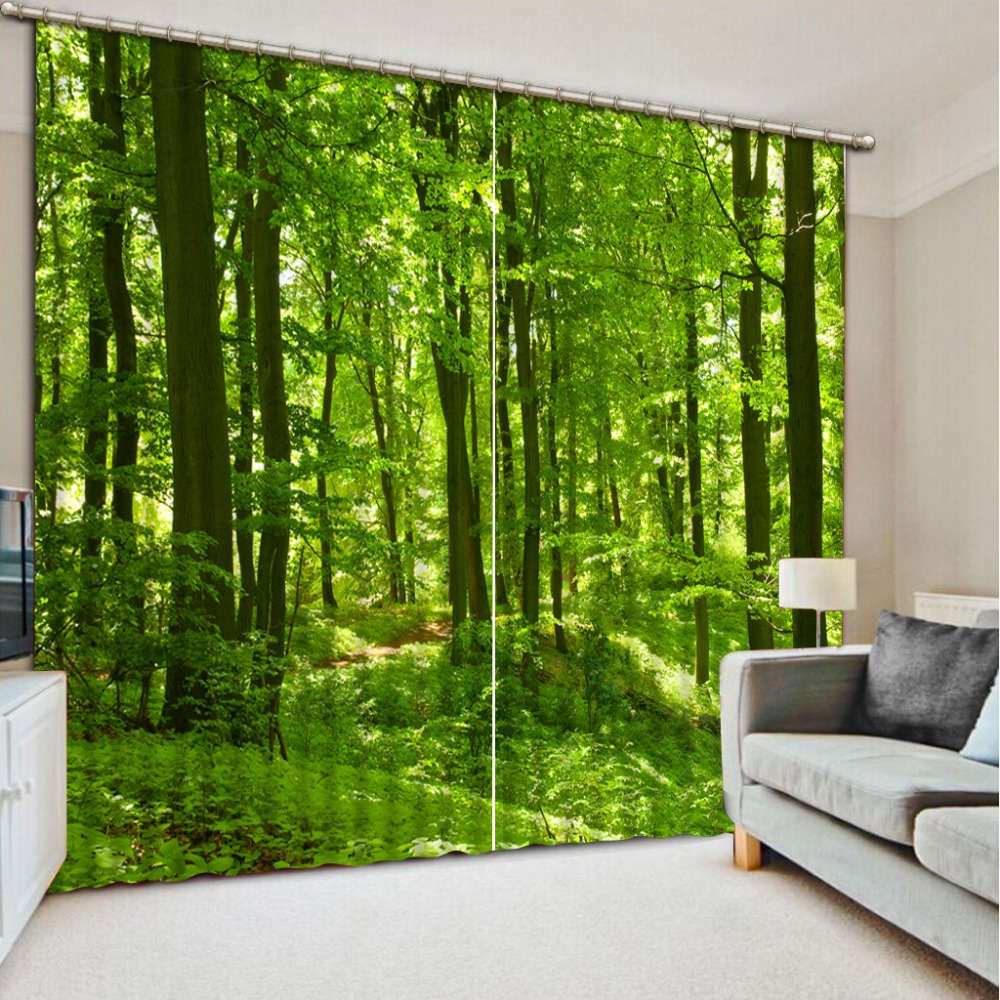 Photo customize size 2016 fashion 3d home decor beautiful for Forest green curtains drapes