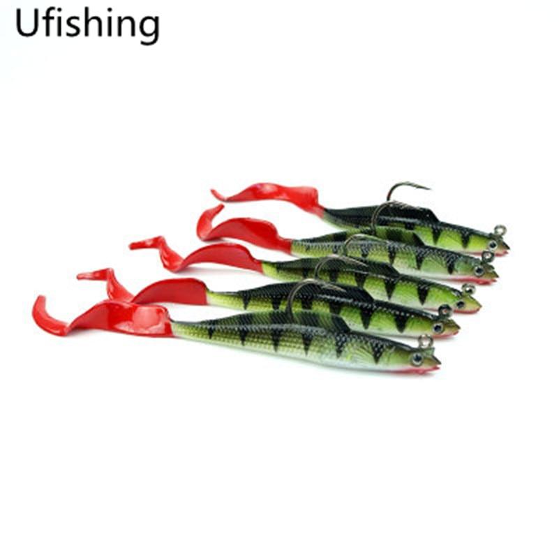 Ufishing 5 Pcs/lot Single Hook Fishing Lure 9g 11cm Fish Shaped Soft Lure Sinking Casting Trolling Artificial Bait