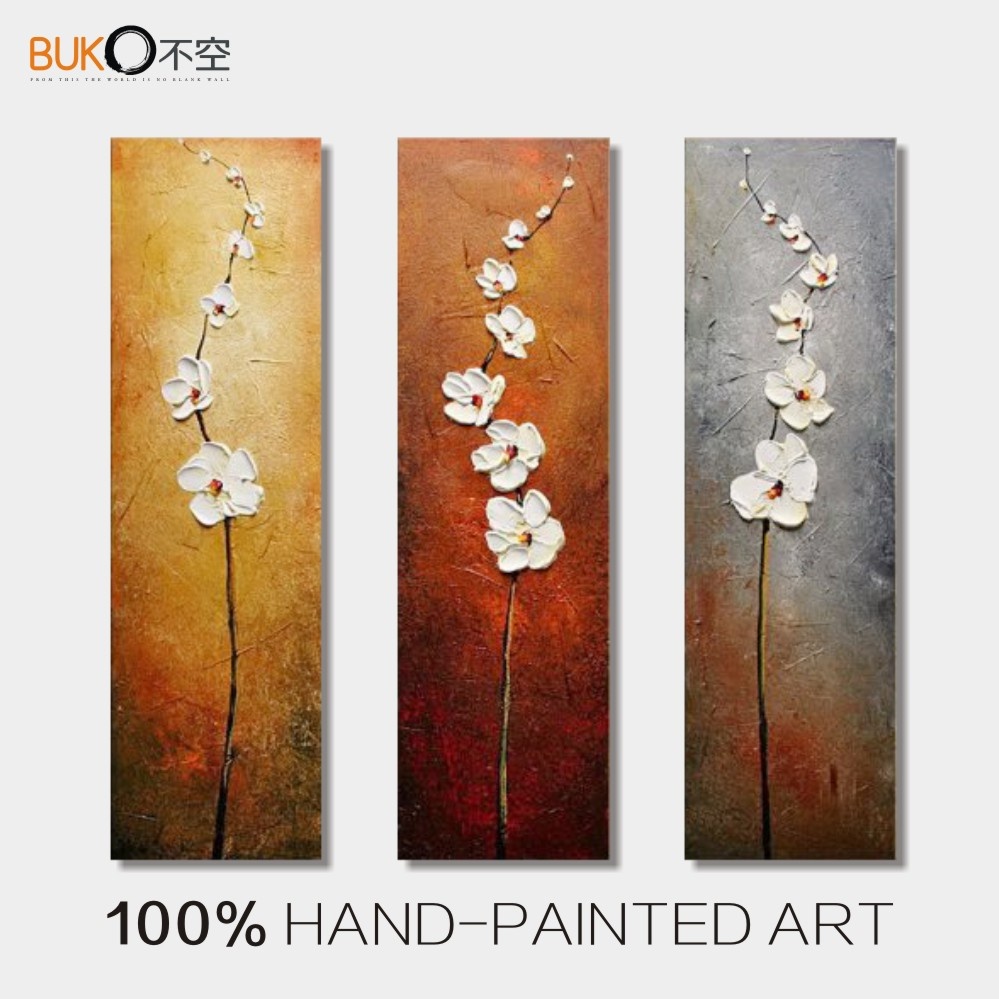 100 hand painted 3 panel abstract vertical white flowers for 3 panel painting
