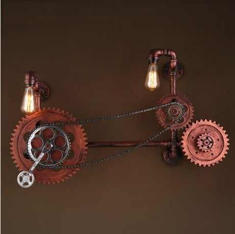 Лофт Стиль деревянный водопровод лампа Эдисона бра Ретро мост Шестерни Настенные светильники для дома Винтаж Промышленное освещение
