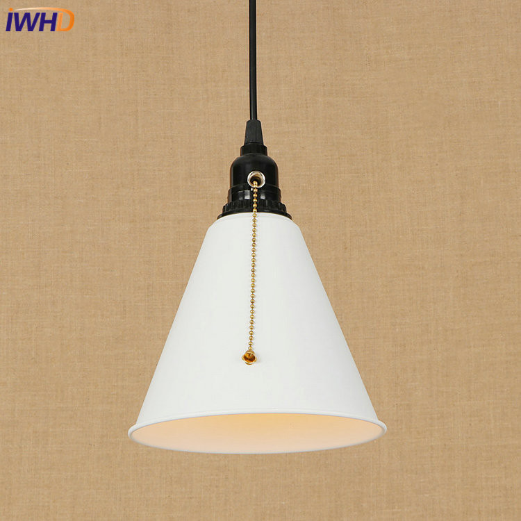 IWHD Vintage LED Pendant Lamp Industrial Loft Pendant Light Droplight Creative RH Hanglamp Fixtures For Home Lighting Luminaire