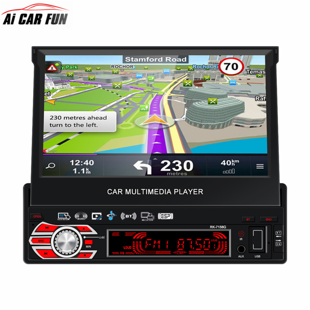 Full Automatic Retractable Screen 1Din 7 inch MP5 Player Car Radio Multimedia Player RK-7158G AM GPS Navigation Steering Wheel