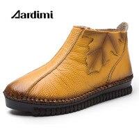 Plus Size 35 43 Autumn Winter Genuine Leather Women Boots 3 Colors Zip Women Martins Boots