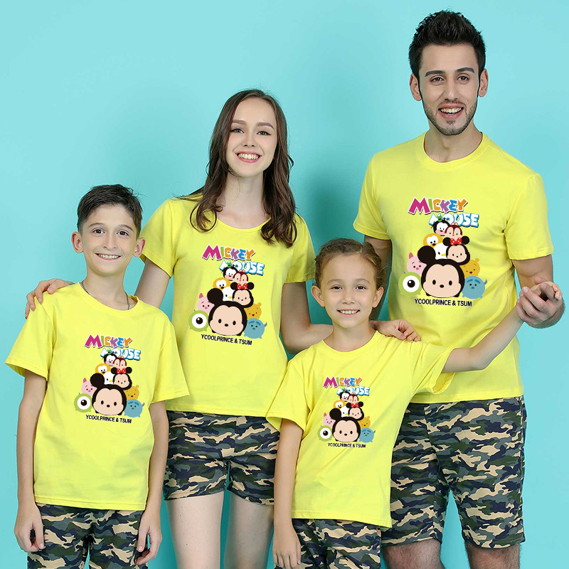 Fashion Summer Family Clothes Mom Dad Baby Cotton T-shirt Baby Boys Girls Cartoon Mickey Minnie Tops Family Match Clothing H0071 ...