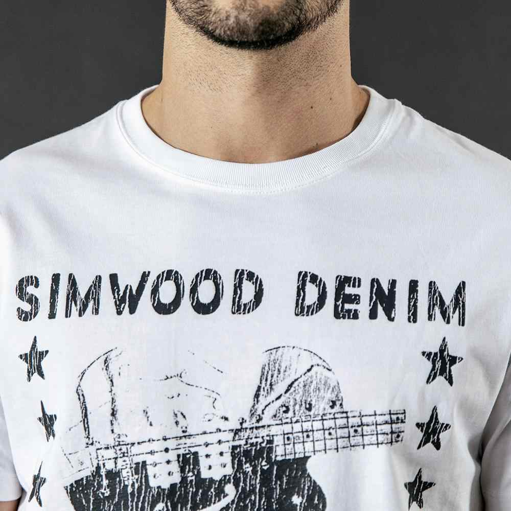 Simwood 2020 Musim Panas Baru T-shirt Pria Fashion Hip Hop 100% Katun To Craze Over Pola Robek T-shirt Streetwear Tops Tees 190290
