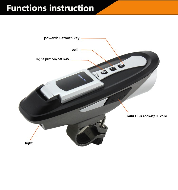 West Biking 6 Function Cycling Computelight Soundbluetooth Phones