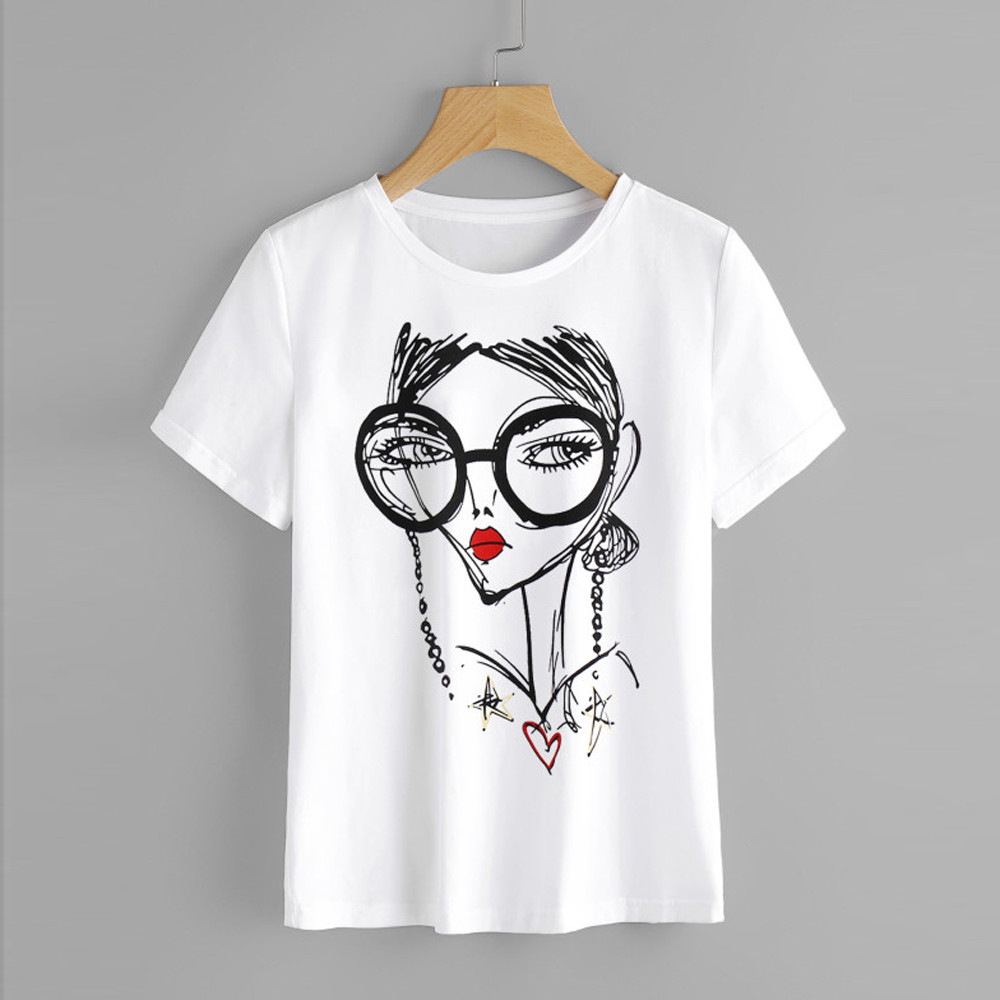 Graphic Print O-Neck Tees Shirt Short Sleeve Shirt