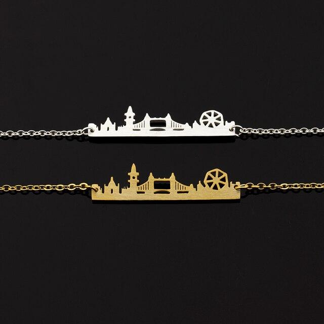10 pièces en acier inoxydable londres City Bridge Bracelet pour femmes délicat royaume-uni paysage urbain bijoux or argent couleur main chaîne